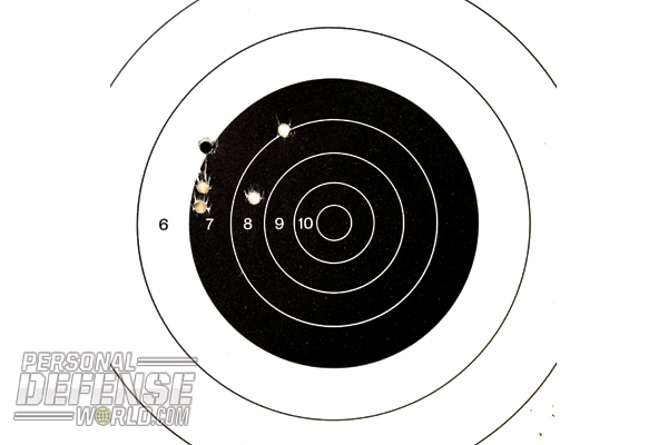 15-yard accuracy is more than adequate to the pistol's purpose, and the sights can be easily drifted to center groups.