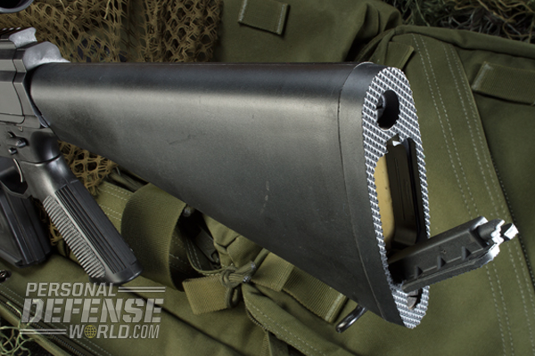 The A2 stock features a storage compartment.