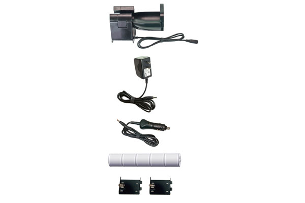 Charging Cradle, 120 Volt Converter, 12 Volt Power Adapter, NiMH Rechargeable Battery Pack, Mounting Brackets (2)