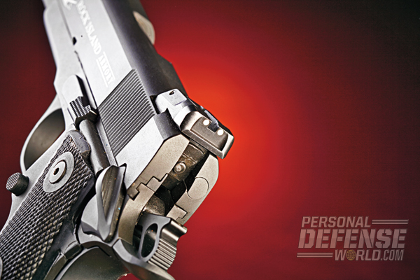 The .22 TCM features an adjustable white-dot rear sight.