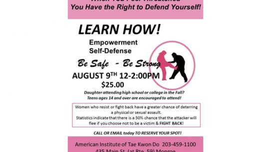 A new self-defense class hosted by the American Institute of Tae Kwon Do is coming to Monroe, CT.