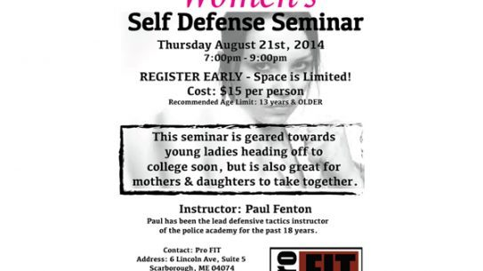 A new women's self-defense seminar will be taught by Sgt. Paul Fenton of the Cape Elizabeth Police Department.