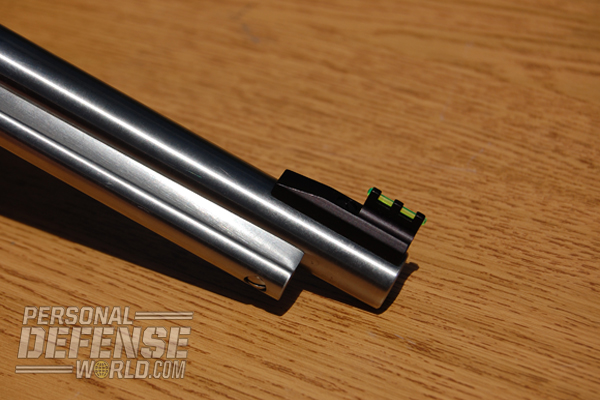 Both pistols utilize a Williams fiber optic sight and a square post front.