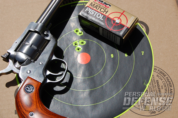 The best Single-Ten performance came with PMC Match Pistol ammo, 5-shot groups into 1.65 inches from 25 yards.