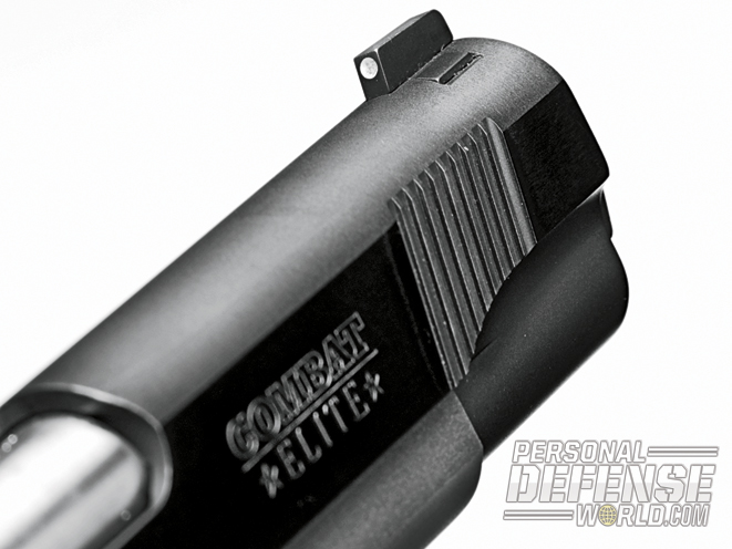 Standard on the Colt Combat Elite are white-dot Novak Low Mount Carry sights. Front slide serrations (below) provide extra gripping surface for manipulations.