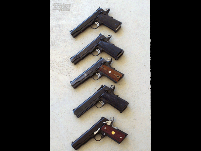 These days, the author is likely to set aside his old Colts in favor of more modern 1911s like these. From top: Colt, Kimber, S&W, Springfield Armory and Para USA—all in .45 ACP.