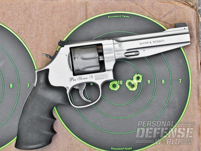 The Model 929 is remarkably accurate, as this five-round, four-hole group proves.