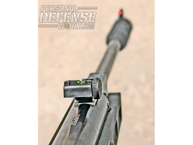 Along with a 3-9x40mm scope, the rifle comes with a green fiber-optic rear sight that pairs with an orange fiber-optic front sight.