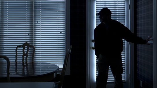 A New York homeowner and his son held two burglars at gunpoint in their home until police arrived.
