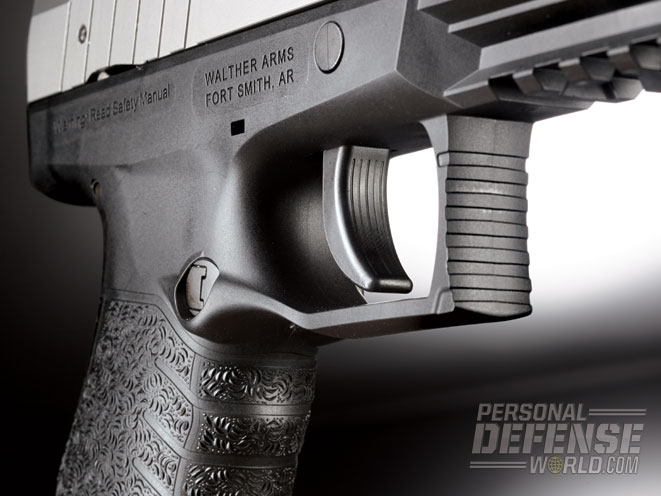 The triggerguard is squared to work with rail accessories.