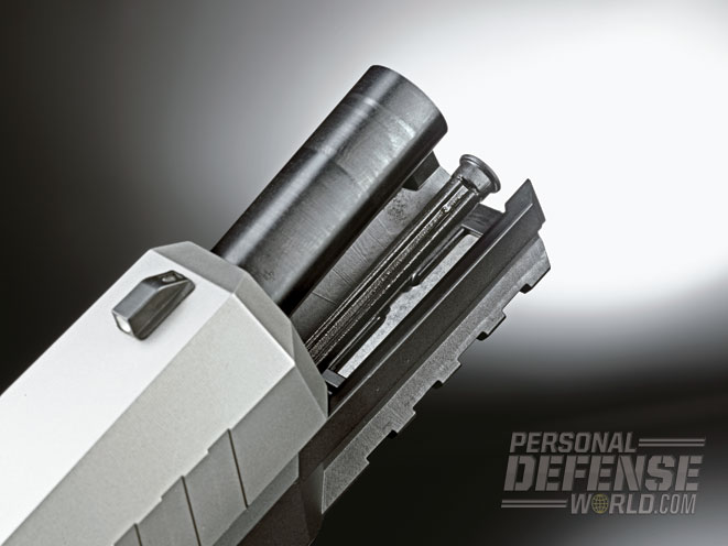 The front edges of the PPX's slide are beveled. Note the 4-inch barrel.