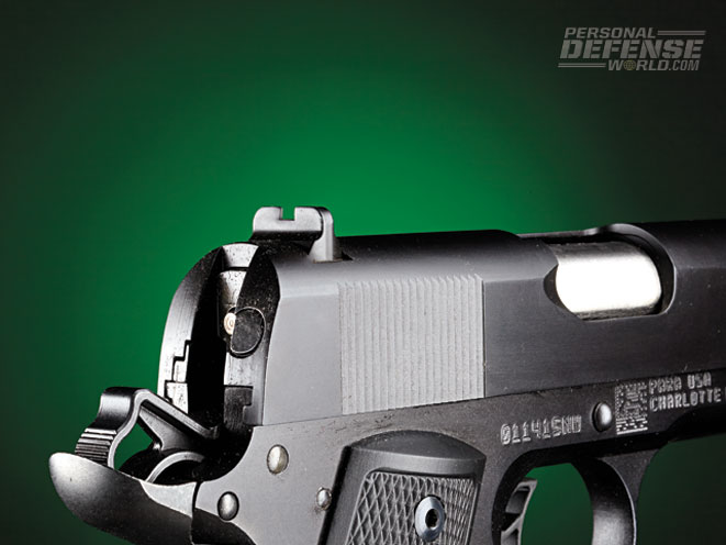 """The extended beavertail helps prevent slide """"bite."""" Also note the rear sight."""