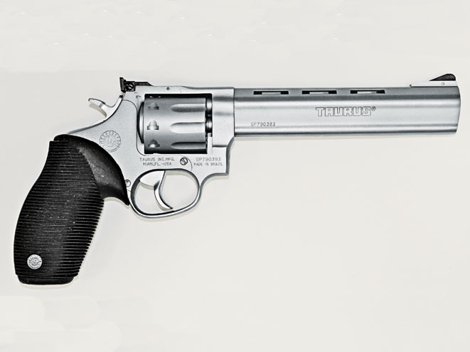 The nine-shot Taurus 990 has a 6.5-inch, heavy barrel. It's an accurate gun for hunting small game or shooting rimfire silhouette matches.