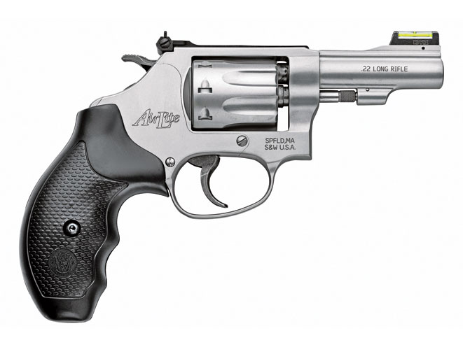 """This lightweight, 3-inch-barreled S&W Model 317 is an ideal .22 LR """"kit gun"""" for camping trips. Recoil-sensitive shooters can also use it for home defense."""
