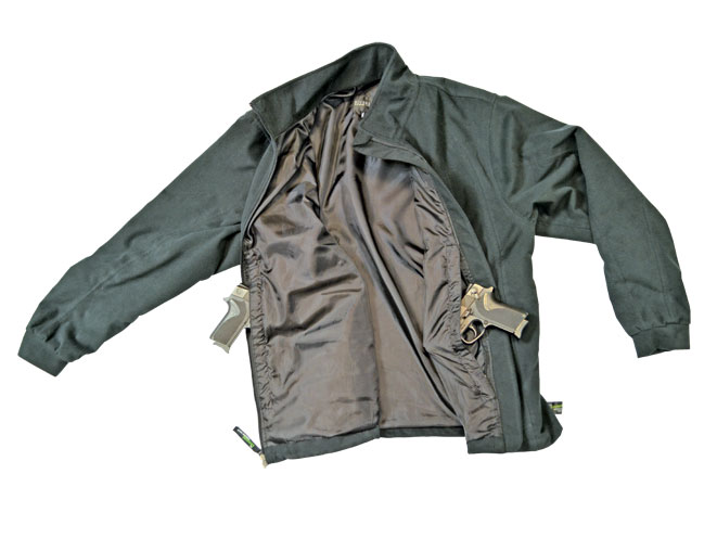 The Rivers West Full Metal Jacket keeps a holstered weapon accessible via a hidden pocket.