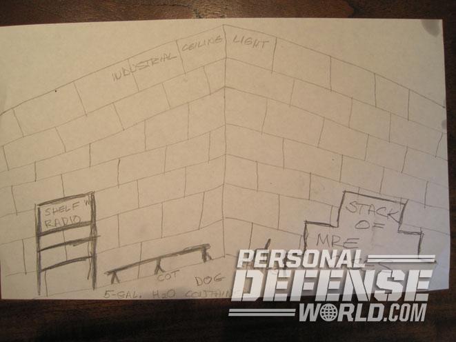 safe room, safe rooms, home defense safe room, defensive safe room, bricks safe room, sketch safe room