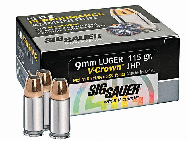 ammo, ammunition, 9mm round, 9mm rounds, self-defense, self defense, self defense ammo, self defense ammunition, sig sauer