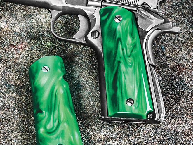 1911, 1911 pistol, grip, grips, gun grip, gun grips, aftermarket grip, aftermarket grip panels, grip panel, grip panels, Eagle Kirinite Green Pearl Grips