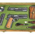 colt model 1911, 1911, model 1911, 1911 engraving, model 1911 gun engraving, government model 1911a1, national match pistols, jan gwinnell engraving, handguns, gun case