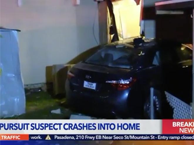 california car thief home crash