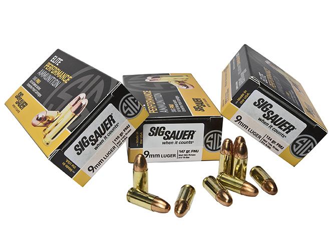 sig sauer 9mm FMJ elite performance ammunition