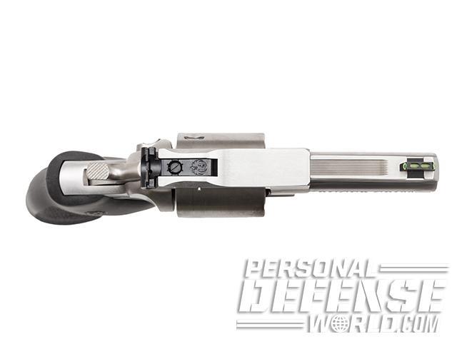 Ruger GP100 revolver aerial shot