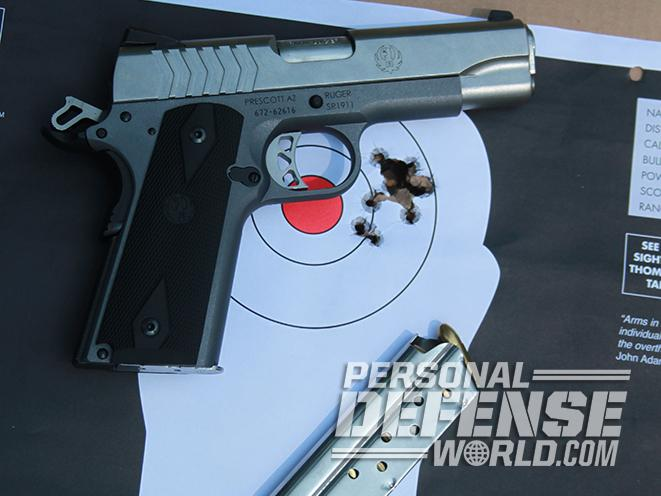 Ruger SR1911 Lightweight Commander 9mm pistol grouping
