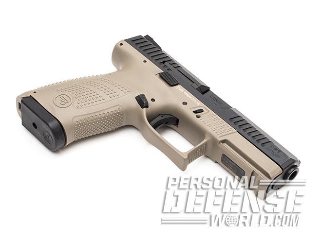 CZ P-10 C FDE pistol right angle