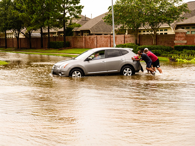 hurricane harvey flooding car