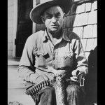 Elmer Keith revolvers handgun shooting sitting down