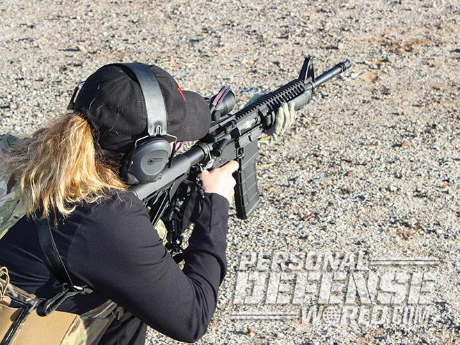 female ar-15 shooter training