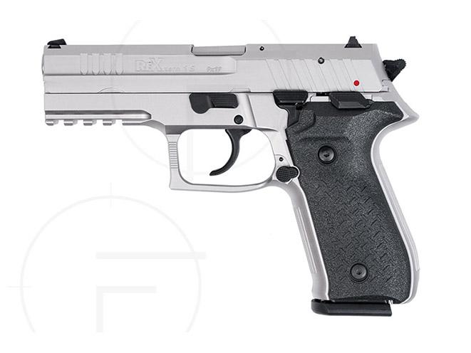 rex pistols nickel plated standard left profile