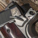 Colt Gunsite 1911 pistol logo and safety