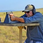 Smith & Wesson M&P9 Shield M2.0 pistol bench shooting