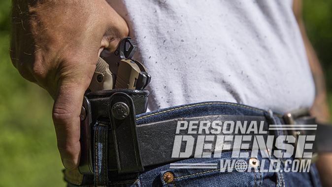 Kimber Micro 9 Desert Tan pistol holster grab