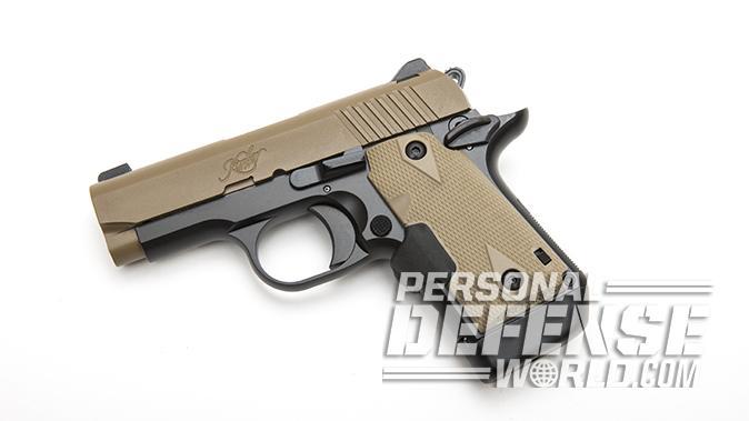 Kimber Micro 9 Desert Tan pistol left angle