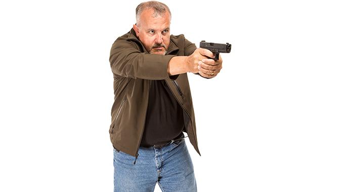 fred mastison gun drawing aim