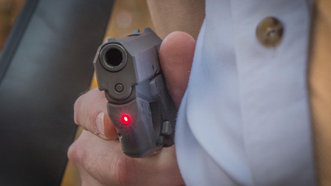 crimson trace laserguard remington rm380 pistol closeup