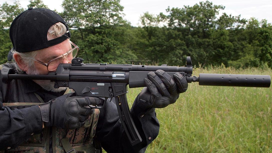 Walther HK MP5A5 rifle shooting