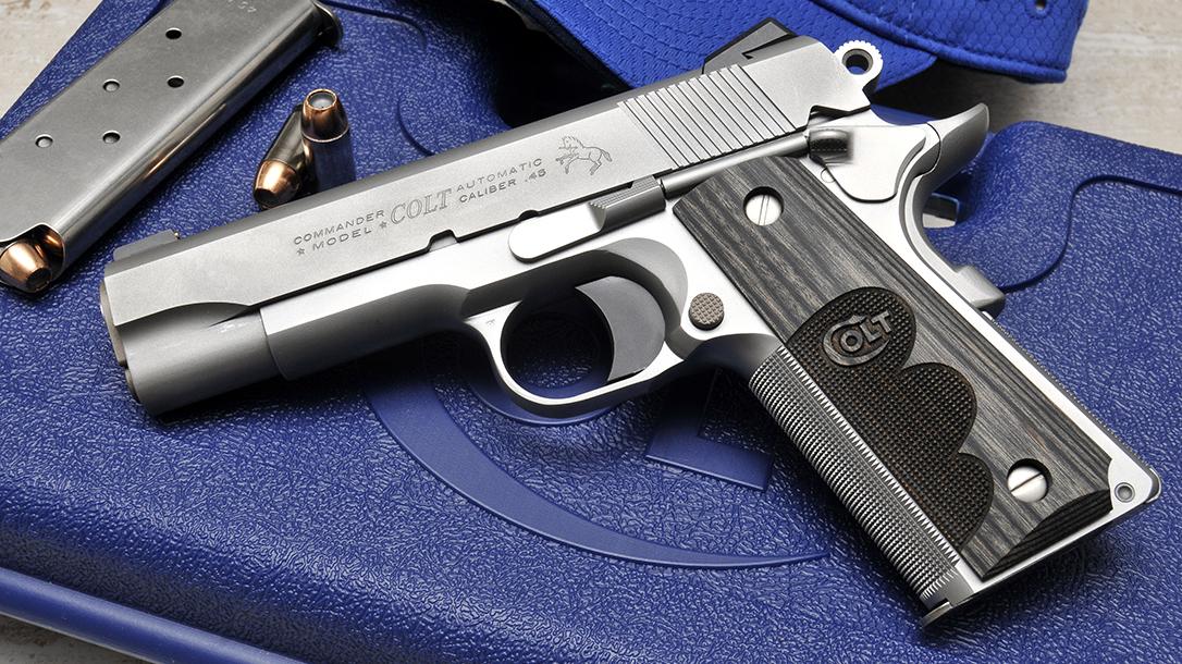 Colt Wiley Clapp Stainless Commander 1911 pistol left profile