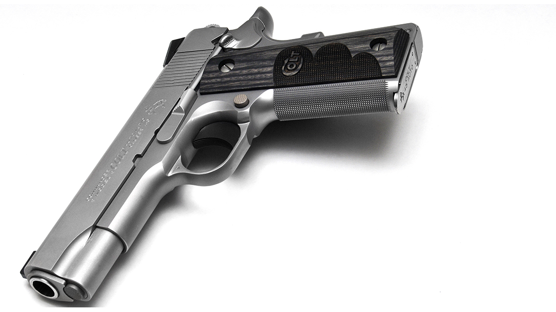 Colt Wiley Clapp Stainless Commander 1911 pistol angle