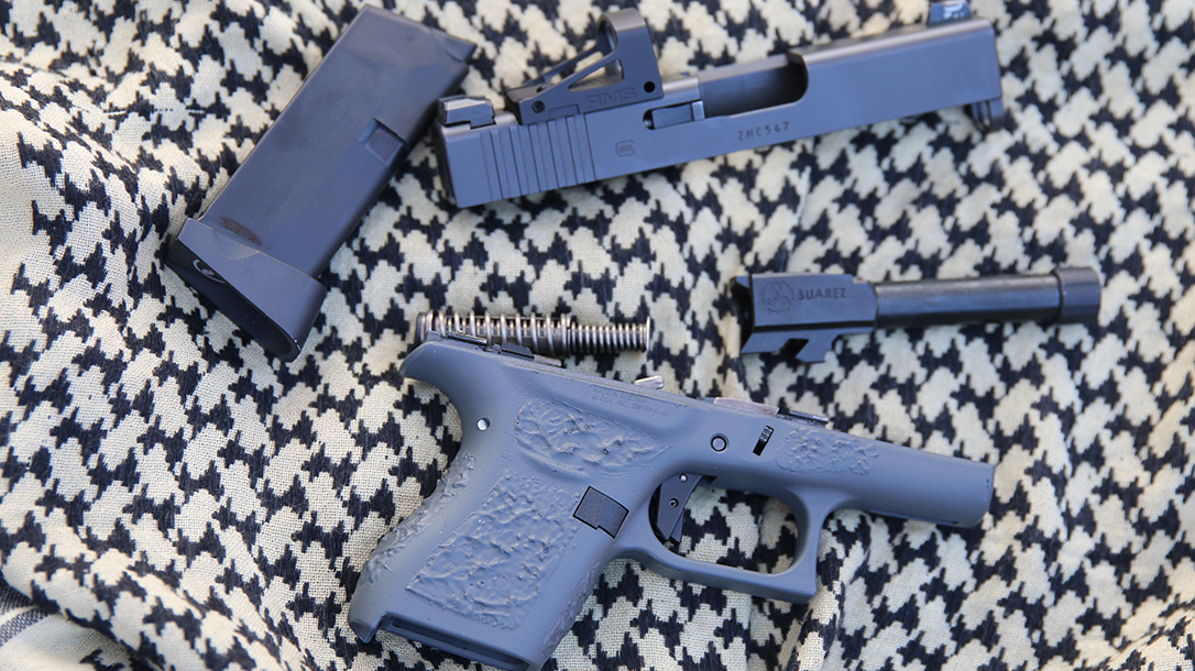 Suarez Guttersnipe Glock 43 pistol disassembled