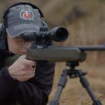 Thompson/Center Arms T/CR22 rifle shooting prone position