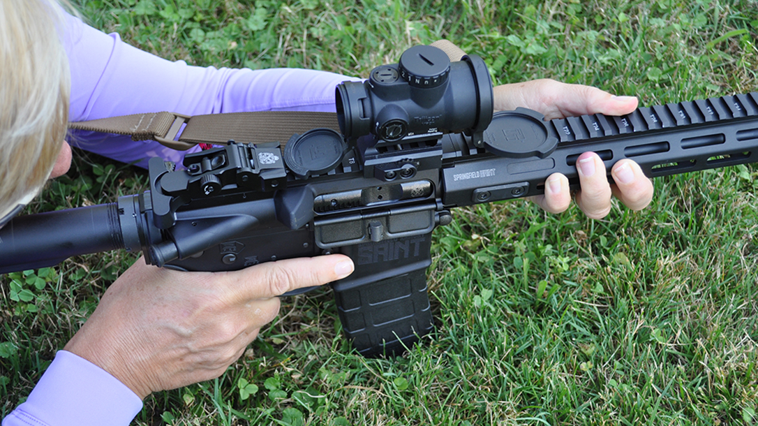 ar-15 rifle top view