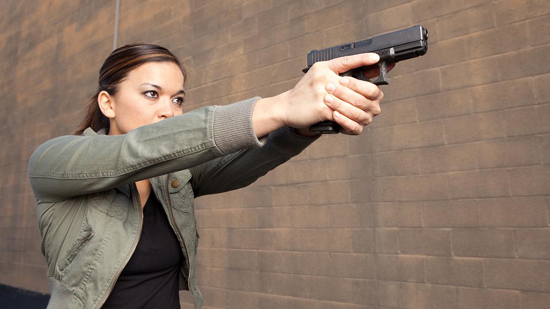 Glock 19 slide pistol aiming