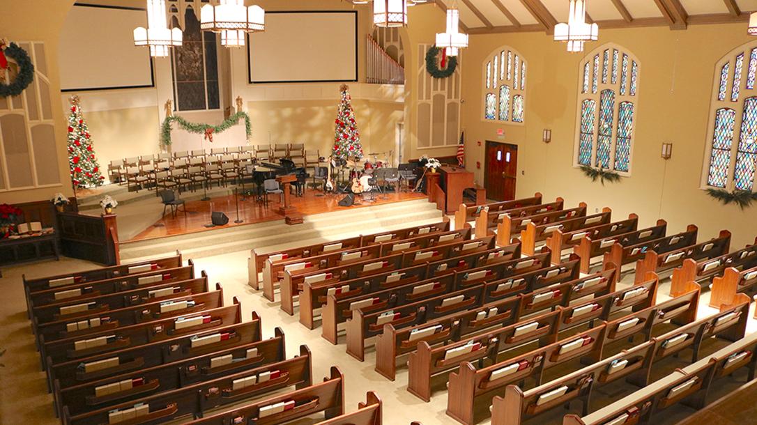 guns in church church pews left angle