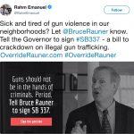 Chicago Mayor Rahm Emanuel Gun Tweet
