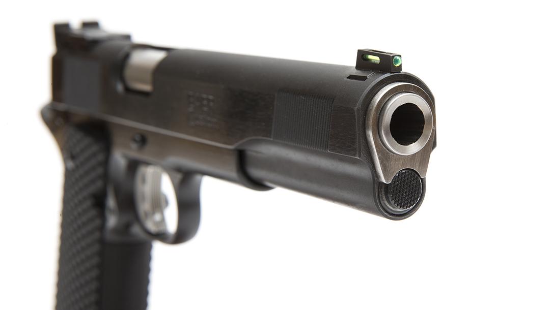 The Les Baer Premier II Hunter pistol, 10mm handgun, barrel