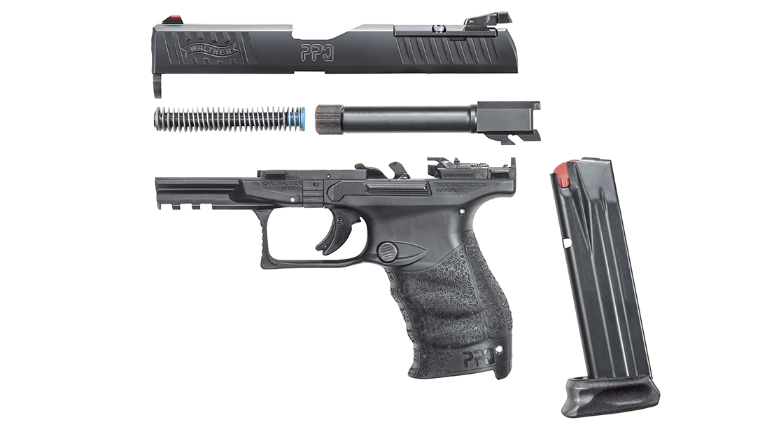 Walther PPQ Q4 TAC Pistol apart, cleaning