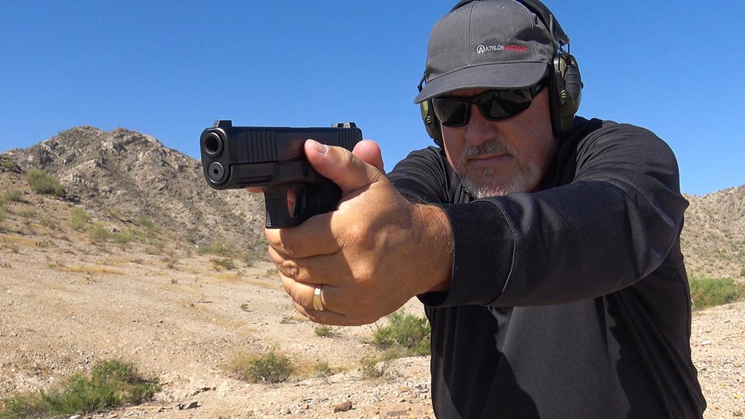 Glock 45 pistol, G45 pistol first review, aim